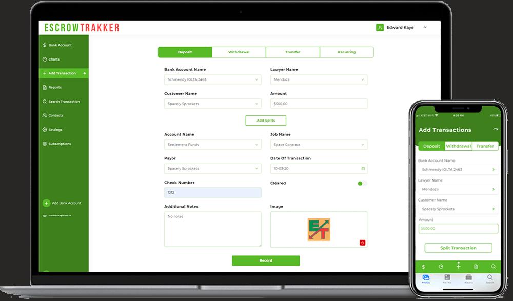 EscrowTrakker® Add Transaction Screens