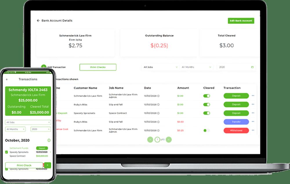 EscrowTrakker® Banking computer screens