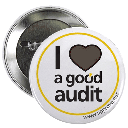 """Image of button with """" I love a good audit"""" on it"""